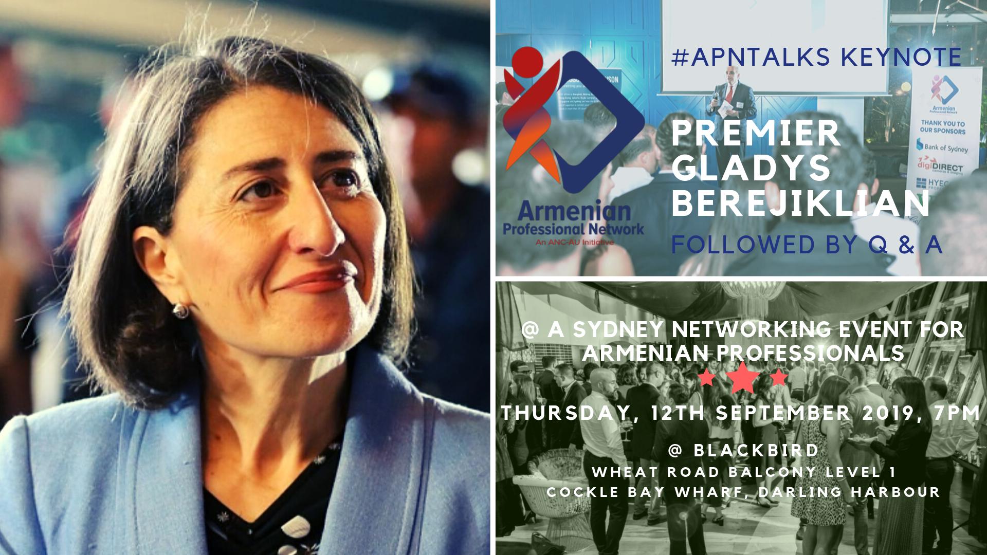 Premier Gladys Berejiklian to Keynote Sydney Networking