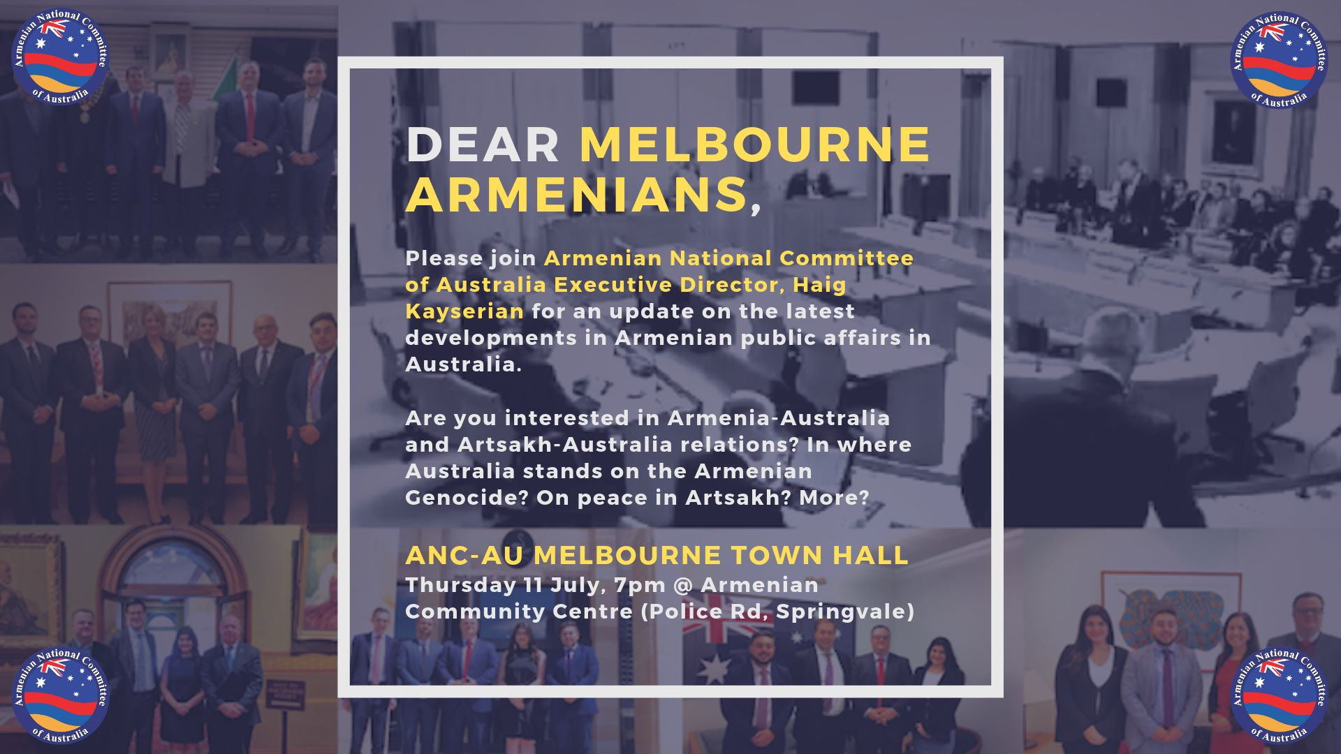 Armenian National Committee to Meet Melbourne Armenians at Town Hall
